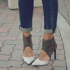 Shoespie Two Part Color Block Stiletto Heels
