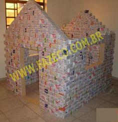 Fazer ou construir casinha de bonecas para crianças com caixas de leite Tetra Pak, projeto grátis, faça você mesmo