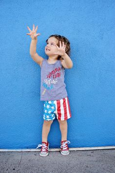 Red White Blue American Flag Organic Knit Bloomer by MagPlusPie
