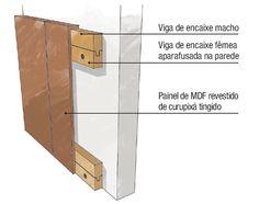 Como fixar: o painel é uma espécie de caixa de MDF de 3 x 1,10 m (espessura de 10 cm). No verso da peça, foram pregadas duas vigas horizontais de encaixe macho (no topo e a 25 cm de altura). Elas se ajustam a duas vigas de encaixe fêmea, previamente aparafusadas na parede. Mdf 15mm, Pallet Projects Diy Garden, Pallet Christmas, Pallet Tv, Diy Pallet Furniture, Headboards For Beds, Architecture Details, Diy Wall, Interior Inspiration