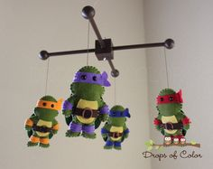 Baby Mobile  Baby Crib Mobile  Ninja Turtle by dropsofcolorshop