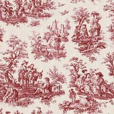 Red Toile Fabric | Waverly Country Life toile in the garnet colorway. Dark red toile ...