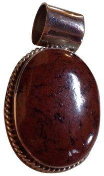 Vintage Vintage Brown Stone Sterling Silver Large Brooch