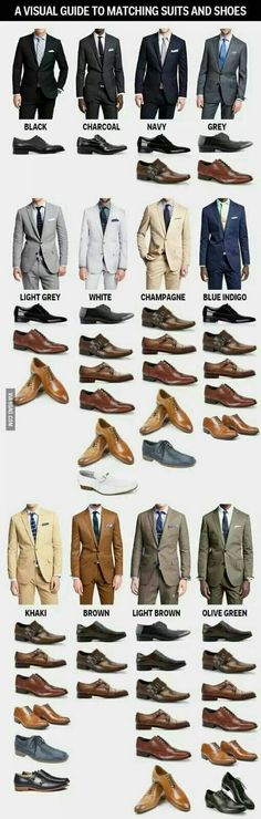 Colour coordination is essential when it comes to tailoring, always make sure your suit and shoes match properly.