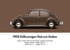 VW Beetle 1955 oval window deluxe sedan