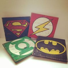 Vintage Super Hero wood signs 10 1/2 Wide x 10 1/2 Tall Pick any of your favorite superheros! They look so cute as a trio on the wall #coasterfurniturediyprojects