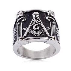 #ZZ - Pride Shack - #Masonic_Ring_Square_Pillars Mason Ring / Masonic Ring Pillar Design - Enamel & Steel Band for Freemasons - AdoreWe.com