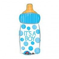 The Blue Baby Bottle Balloon features an 'It's a Boy' headline with blue polka dots around it. Your baby shower will look extra-colorful when you decorate it with this cute baby bottle foil balloon! Mylar Balloons, Baby Shower Balloons, Latex Balloons, Baby Shower Chevron, Baby Boy Shower, Birthday Supplies, Kids Party Supplies, Imprimibles Baby Shower, Gravure Laser