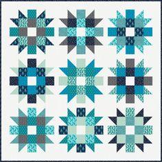 """Genny & Ruth"" quilt designed by Elizabeth Hartman. Features Kona Cotton and Rhoda Ruth by Elizabeth Hartman. Nightfall colorstory."