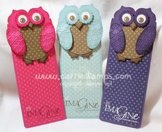 Owl bookmarks made with Stampin Up framelit and punches
