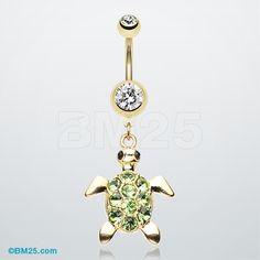 Golden Turtle Sparkle Navel Piercing