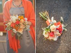 gray and orange wedding colors...shawl for cooler temp! @Emily Prather