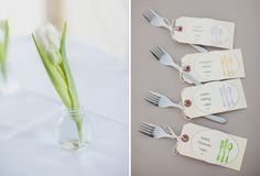 Attaching the place cards to the forks is cheap (nothing extra) and cute!