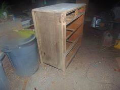 before pic of walnut dresser