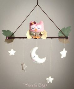 Handmade Goodnight Owl Baby Mobile for Baby by WhooosTheCutest, $35.00