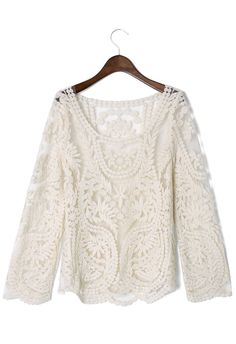 Delicacy Crochet Top - Retro White and Nude Collection - Dress - Retro, Indie and Unique Fashion