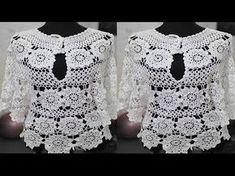 Tunic Blouse, Tunic Tops, Crochet Hooks, Crochet Top, Crochet Fashion, Crop Tops, Stitch, Youtube, How To Wear