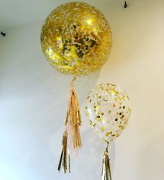 """LEFT: Giant 3ft diamond clear with gold confetti + half tassel in peach and gold.  RIGHT: 16"""" diamond clear with gold and white confetti and mini-tassel"""