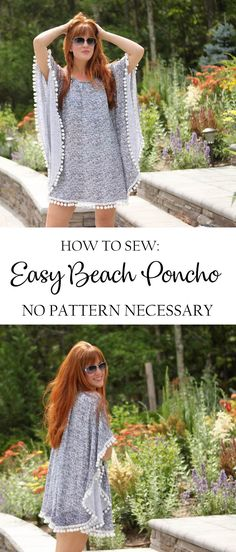 How to sew an EASY Beach Poncho. No pattern necessary! #sewing #sew