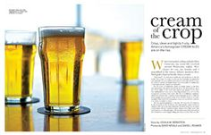 Feature story: Crisp, clean and lightly fruity, America's homegrown cream ales are on the rise. Wine Cocktails, Drinks, Magazine Layout Design, Magazine Spreads, Cleaning, Cream, Paragraph, American, Random