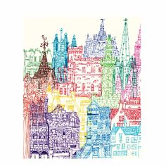 Chetan Kumar Edinburgh Towers Print: Delightful print of the most scenic Edinburgh buildings made by Chetan Kumar. This is a high quality digital print on 300gsm paper. The paper is lightly textured and gives a beautiful matte finish which really suits this particular piece.