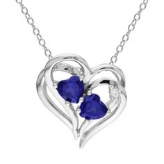 Sterling Silver Lab-Created Sapphire & Diamond Accent Heart Pendant