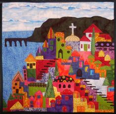 Happy Village quilt workshop by Lendia Kinnaman Landscape Quilts, Landscape Art, House Quilts, My Kind Of Town, Felt Crafts, Painting Inspiration, Textile Art, Collage Art, Quilt Blocks