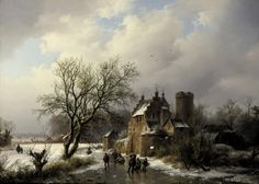 """athousandwinds:  The Old Manor: Skaters on the Ice in a Wooded Landscape, 1846, oil on panel by Barend Cornelius Koekkoek, Dutch, 1803-1862.  Koekkoek was known as the """"prince of landscape"""" painting and the founding father of Dutch romantic landscape painting for which he earned many medals and awards."""