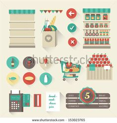 Vector supermarket icons - stock vector