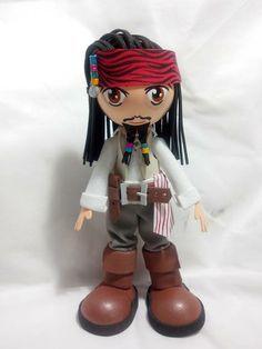 Boneco Fofucho Jack Sparrow - Piratas do Caribe (Johnny Depp). feito em E.V.A. ideal para presentes, lembranças e decoração, arte em eva. *** Pode escolher fofucho com chapéu ou lenço. *** Acompanha embalagem. R$ 38,00
