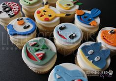 Pokemon inspired cupcakes for Cooper's 6th Birthday! #littlecreationsbyrose #pokemoncupcakes #cupcakes #fondantart #fondantdecorations #Sugarart #pikachu #mudflip #turtwig #bulbasaur #charmander #piplip #squirtle #munchiax #totodile #chikorita Little Creations By Rose