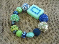 Green and Blue Mahjong Bracelet - Jesse James Beads Jewelry - Mahjong Jewelry by MahjongJewelry on Etsy