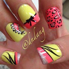 Yellow, Coral, Black Bow, Cheetah Print