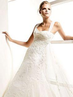 Sweetheart A-line Floor-length Vintage Satin Wedding Dresses