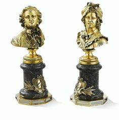 TWO SILVER-GILT FIGURES OF A MAN AND A WOMAN ON MARBLE BASES, MARKS DIFFICULT TO READ, PROBABLY GERMAN, CIRCA 1830.