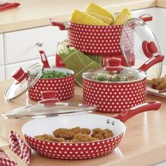Ginnys Brand 8-Piece Nonstick Ceramic Polka Dot Cookware Set from Ginny's ® This would make me happy to cook!