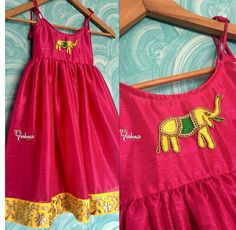 For a Cutie Pie! Lovley designer gown for kids with elephant design hand embroidery work. Pink and yellow is beautiful combination. Yoshnas By Ela. Frocks For Girls, Dresses Kids Girl, Kids Outfits, Kids Indian Wear, Kids Ethnic Wear, Kids Dress Wear, Kids Gown, Children Dress, Baby Girl Dress Patterns