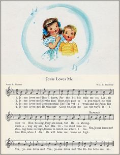 "This is a print copied from my treasured hymnal ""Songs For Children"" 1950 suitable for framing. The artwork in this book is adorable! A beautiful piece that illustrates in art and music the abiding love of Christ. by gospelhymns Bible Songs, Praise Songs, Church Songs, Church Music, Gospel Music, Music Lyrics, Gospel Lyrics, Hymn Art, Arte Disney"