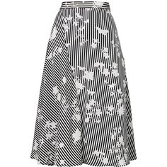 Altuzarra A-line striped skirt (65.785 RUB) ❤ liked on Polyvore featuring skirts, black, a-line skirt, striped skirts, silk skirt, knee length a line skirt and silk a line skirt
