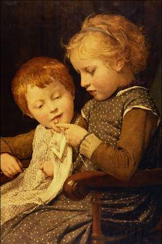 """The Little Knitters"" by Albert Anker 1892"