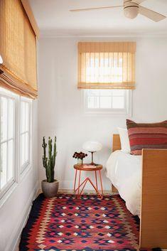 clean, mid-century bedroom design