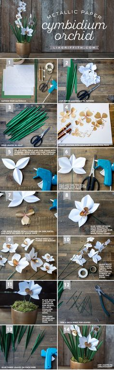 Download the templates to make your own stunning paper orchid using pretty metallic papers. Design & tutorial by handcrafted lifestyle expert Lia Griffith