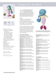 PATRONES GRATIS DE CROCHET: Patrón gratis de un amigurumi Sirena ( en inglés) a crochet Crochet Dolls Free Patterns, Crochet Doll Pattern, Amigurumi Patterns, Amigurumi Free, Amigurumi Doll, Crochet Gifts, Cute Crochet, Crochet Toys, Crochet Scarf Diagram