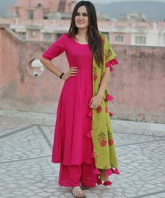 Buy an Rani Pink Silk Salwar Suit from Vastrova- an Ethnic clothing brand for women for various occasions with cash on delivery facility all over India Pakistani Dresses, Indian Dresses, Indian Outfits, Anarkali, Churidar, Patiala, Salwar Kameez, Sharara, Salwar Designs