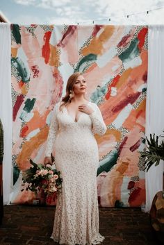 Tadashi Shoji designed this bride's gorgeous fitted wedding dress. Plus Wedding Dresses, How To Dress For A Wedding, Western Wedding Dresses, Wedding Dress Sleeves, Long Sleeve Wedding, Plus Size Wedding, Lace Wedding, Lace Dresses, Lace Sleeves