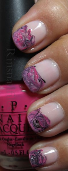 pale pink base with lovely free hand brush worked a-top a tipped lavender gradient