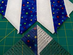 Making half square triangles using bias cut strips - such a clever idea from Lois Arnold