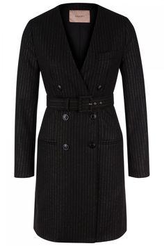 Twin Set Damen Kleid mit Lurexnadelstreifen Schwarz | SAILERstyle Twin Set, Trends, Pullover, Elegant, Designer, Wrap Dress, Shirt Dress, Shirts, Dresses