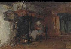 Knitting by the fire - Bernardus Johannes Blommers