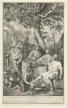 Jacob de Later | Abraham ontvangt de drie engelen, Jacob de Later, Pieter de Hondt, 1728 | Bij het eikenbos van Mamre verschijnen plotseling drie mannen voor de tent van Abraham. Hij herkent ze als gezanten van God en ontvangt ze gastvrij. Bijbelse voorstelling uit Gen. 18:8 met in de marge de titel van de voorstelling in zes talen.